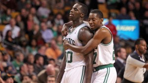 (Boston,  MA,  11/06/13) Boston Celtics power forward Brandon Bass gets a hug from shooting guard Jordan Crawford in the fourth quarter of the NBA game against the Utah Jazz at the TD Garden on Wednesday,  November 6,  2013.  The Celtics beat the Jazz 97-87.   Staff Photo by Matt Stone