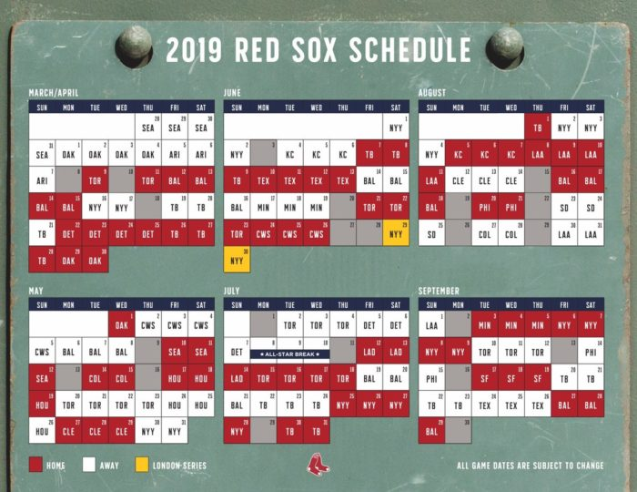 2019 Red Sox Schedule